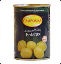 Olives Campomar  Green Whole 10 Oz